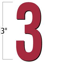 3 inch Die-Cut Magnetic Number - 3, Red