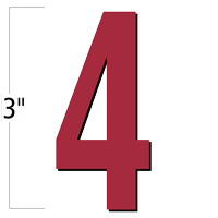 3 inch Die-Cut Magnetic Number - 4, Red