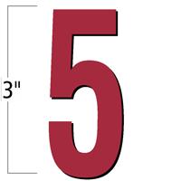 3 inch Die-Cut Magnetic Number - 5, Red