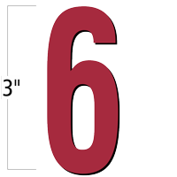 3 inch Die-Cut Magnetic Number - 6, Red