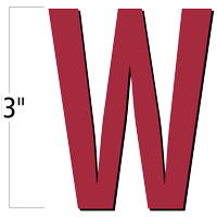 3 inch Die-Cut Magnetic Letter - W, Red