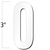 3 inch Die-Cut Magnetic Number - 0, White