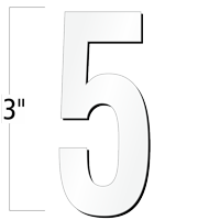 3 inch Die-Cut Magnetic Number - 5, White