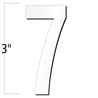 3 inch Die-Cut Magnetic Number - 7, White