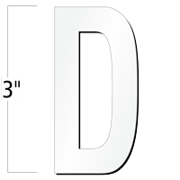 3 inch Die-Cut Magnetic Letter - D, White