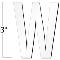 3 inch Die-Cut Magnetic Letter - W, White