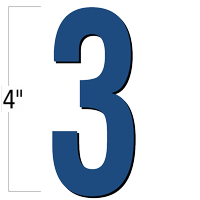 4 inch Die-Cut Magnetic Number - 3, Blue
