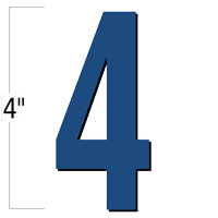 4 inch Die-Cut Magnetic Number - 4, Blue