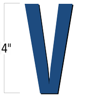4 inch Die-Cut Magnetic Letter - V, Blue
