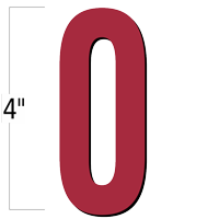 4 inch Die-Cut Magnetic Number - 0, Red