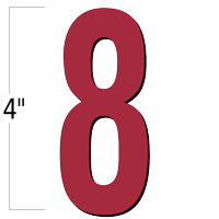 4 inch Die-Cut Magnetic Number - 8, Red