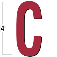4 inch Die-Cut Magnetic Letter - C, Red