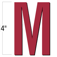 4 inch Die-Cut Magnetic Letter - M, Red