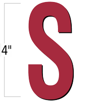4 inch Die-Cut Magnetic Letter - S, Red