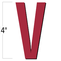 4 inch Die-Cut Magnetic Letter - V, Red