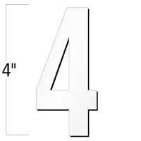 4 inch Die-Cut Magnetic Number - 4, White
