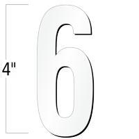 4 inch Die-Cut Magnetic Number - 6, White