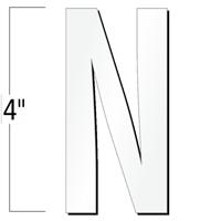 4 inch Die-Cut Magnetic Letter - N, White