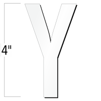 4 inch Die-Cut Magnetic Letter - Y, White