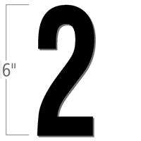 6 inch Die-Cut Magnetic Number - 2, Black
