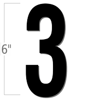 6 inch Die-Cut Magnetic Number - 3, Black