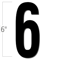 6 inch Die-Cut Magnetic Number - 6, Black