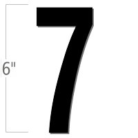 6 inch Die-Cut Magnetic Number - 7, Black