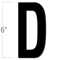 6 inch Die-Cut Magnetic Letter - D, Black