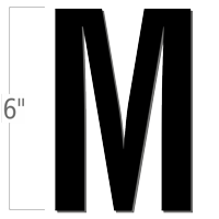 6 inch Die-Cut Magnetic Letter - M, Black