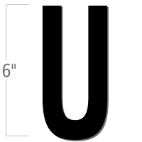 6 inch Die-Cut Magnetic Letter - U, Black