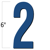 6 inch Die-Cut Magnetic Number - 2, Blue