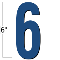 6 inch Die-Cut Magnetic Number - 6, Blue