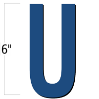 6 inch Die-Cut Magnetic Letter - U, Blue