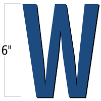 6 inch Die-Cut Magnetic Letter - W, Blue