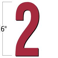 6 inch Die-Cut Magnetic Number - 2, Red