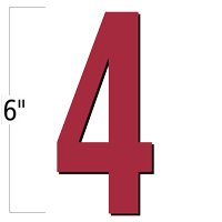 6 inch Die-Cut Magnetic Number - 4, Red