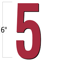 6 inch Die-Cut Magnetic Number - 5, Red