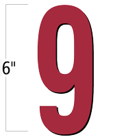 6 inch Die-Cut Magnetic Number - 9, Red