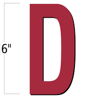 6 inch Die-Cut Magnetic Letter - D, Red