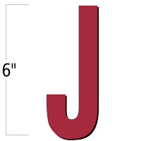 6 inch Die-Cut Magnetic Letter - J, Red