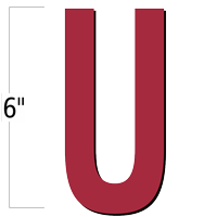 6 inch Die-Cut Magnetic Letter - U, Red