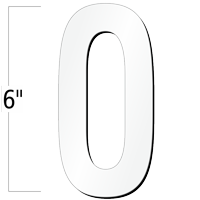 6 inch Die-Cut Magnetic Number - 0, White