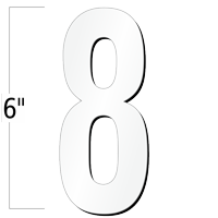 6 inch Die-Cut Magnetic Number - 8, White