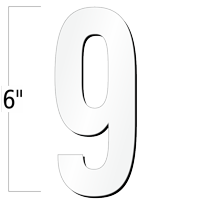 6 inch Die-Cut Magnetic Number - 9, White