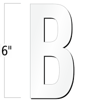 6 inch Die-Cut Magnetic Letter - B, White