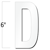 6 inch Die-Cut Magnetic Letter - D, White
