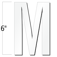 6 inch Die-Cut Magnetic Letter - M, White