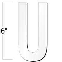 6 inch Die-Cut Magnetic Letter - U, White