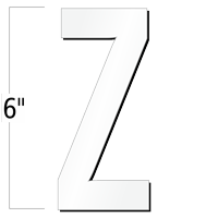 6 inch Die-Cut Magnetic Letter - Z, White
