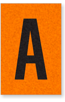 Engineer Grade Vinyl, 1 Inch Letter, Black on Orange, A